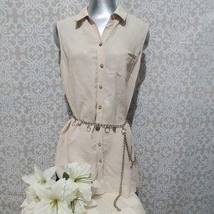 FoxCroft Womens Linen Size 14 Sleeveless Tunic